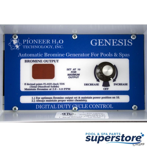 Genesis 1 Pioneer H2O Technologies Bromine Generator, Pioneer H2O Genesis, 115v/230v, 500 gal. Questions & Answers